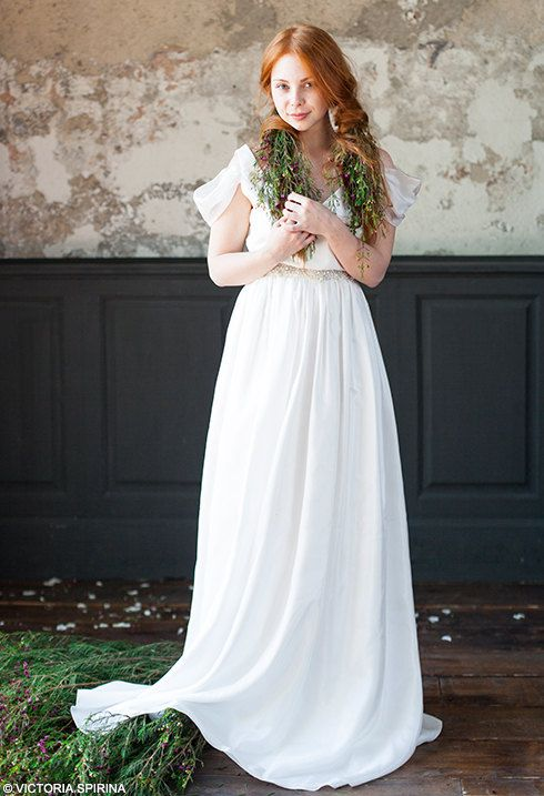 ANDERA Mermaid Wedding Dress 2017 Peach Gown With Train Cotton Lace Vintage Bohemian