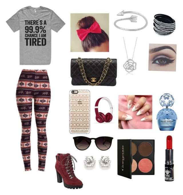 """I'm always tired "" by ewebb728 on Polyvore featuring Chanel, Casetify, Ray-Ban, Beats by Dr. Dre, Nine West, BERRICLE, Marc Jacobs and Manic Panic"