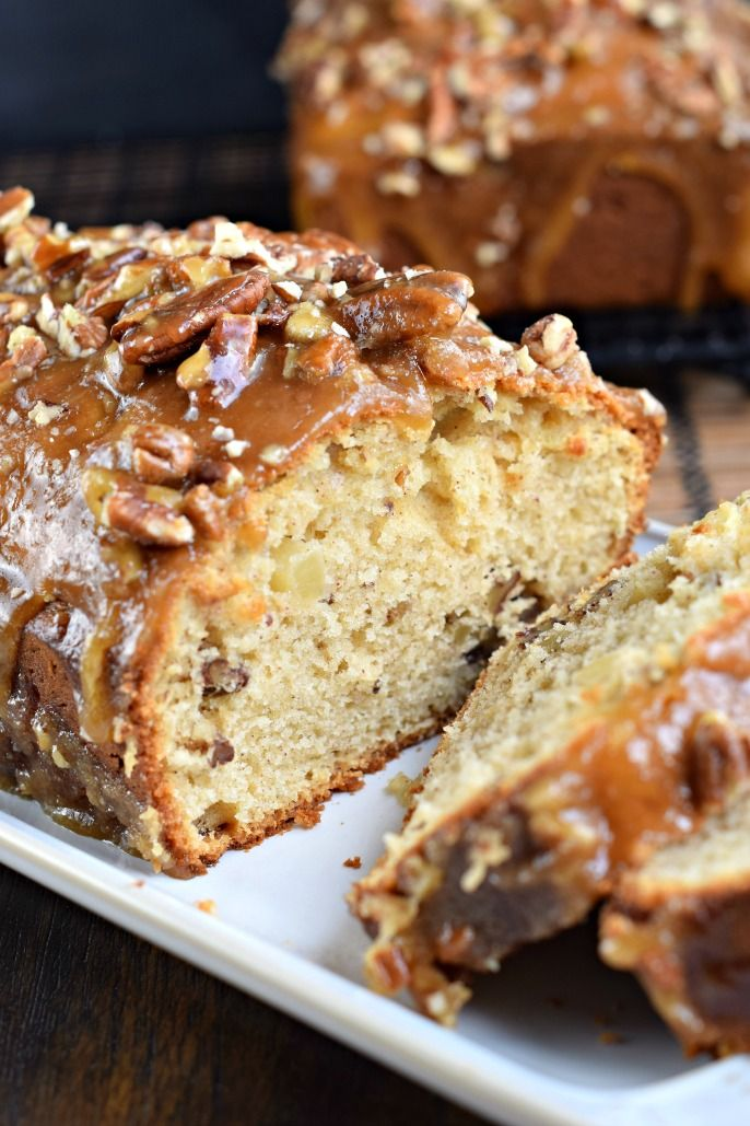 Sweet and comforting, this Praline Topped Apple Bread is the perfect start to your day! Recipe makes two loaves, and freezes well too!