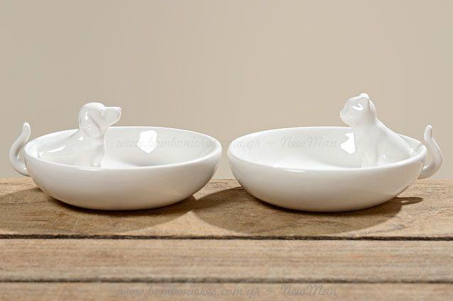 Μπολ λευκό διακοσμητικό πορσελάνη | bombonieres.com.gr