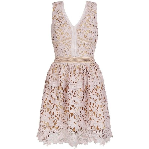 Mink Premium Lace Ladder Trim Skater Dress (£50) ❤ liked on Polyvore featuring dresses, mini dress, summer dresses, pink cocktail dress, special occasion dresses and fit and flare dress