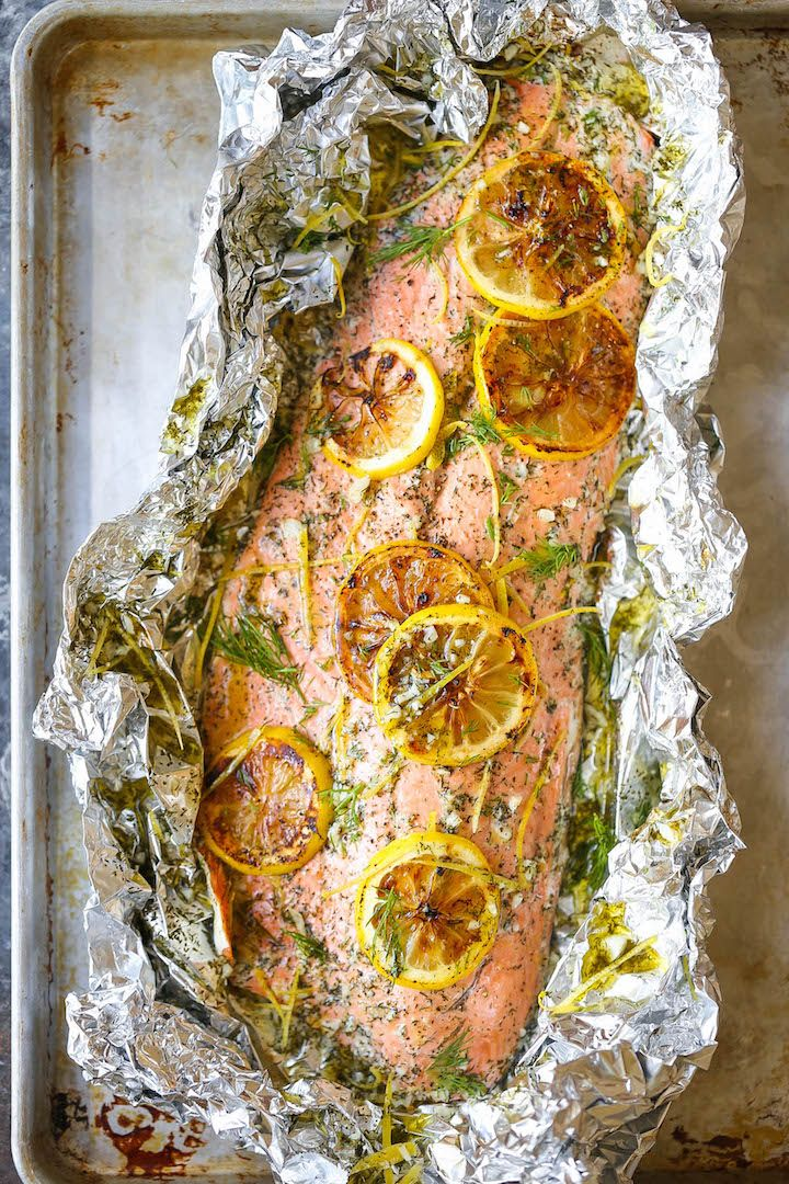 Lemon Dill Salmon in Foil - Seriously dead-simple salmon cooked right in foil…