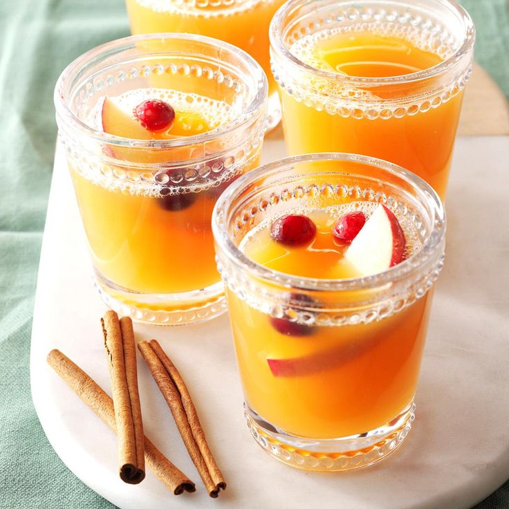 Holiday Wassail Punch Recipe -This festive and fruity punch is made with five kinds of juices plus cinnamon and allspice for a unique, well-balanced flavor.—Jennifer Stout, Blandon, Pennsylvania