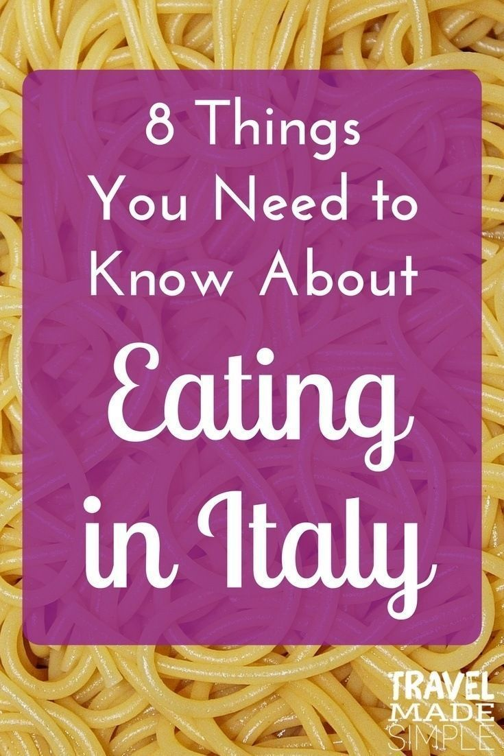 Food in Italy is an important part of the culture. Here are some things to know about eating in Italy so you can enjoy this part of your Italy vacation. #CultureVacation