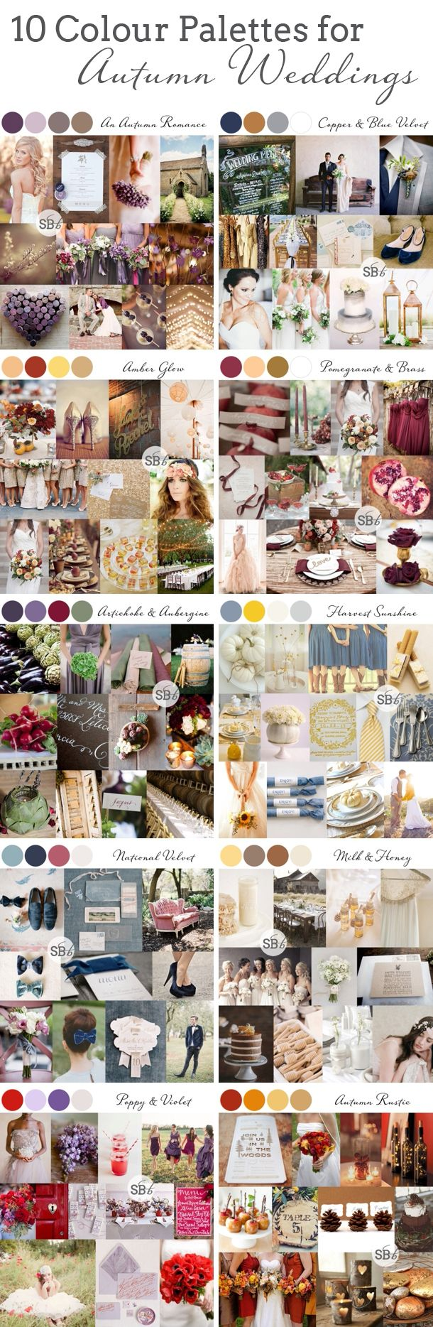 10 Autumn/Fall Colour Palettes | SouthBound Bride | Full credits & links: http://www.southboundbride.com/10-autumn-wedding-colour-palettes