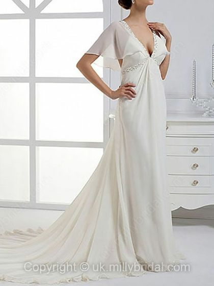 Empire V-neck Chiffon Court Train Beading Wedding Dresses -USD$180.12