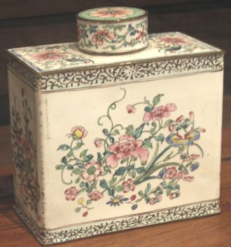 Tea caddy, c1780s, copper with enamel surface decoration, pink peonies in famille rose colours, made in China for Western buyer