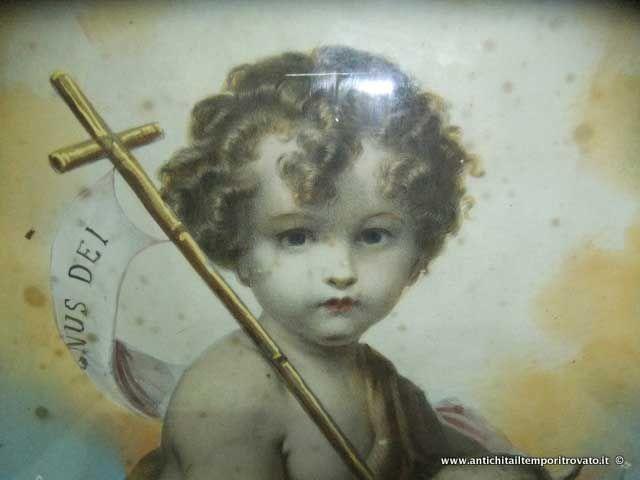 Oggettistica d`epoca - Stampe e dipinti - Litografia acquerellata di San Giovannino San Giovannino: litografia colorata a tempera - Immagine n°4