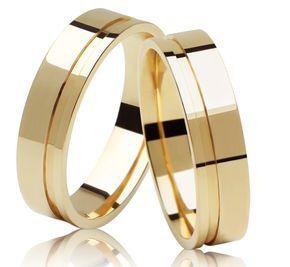 Alianças Quadradas São Cristóvão ♥ Casamento e Noivado em Ouro 18K - Reisman…