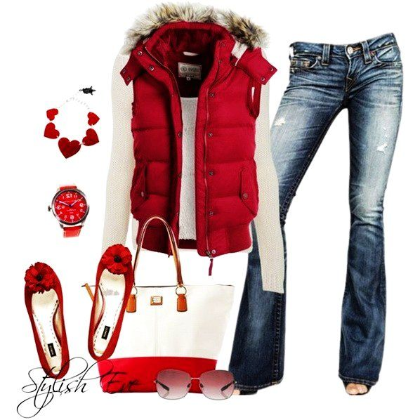 Jeans; red down sleeveless jacket, cream colored t-shirt, red dressy flats with a flower, red heart necklace; Christmas outfit; Valentine's day casual outfit