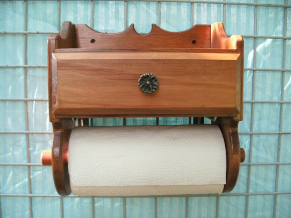 Wooden Paper Towel Holder with Drawer by MetalArtbyBRIAN on Etsy, $48.00