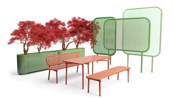 Pop from Vestre -- Designed by Kristine Five Melvær, thisoutdoor furniture collection is as playful as it is hard-working. Theperforated steel benches and tables, steel planters and partition-trellises that comprise it are made with...