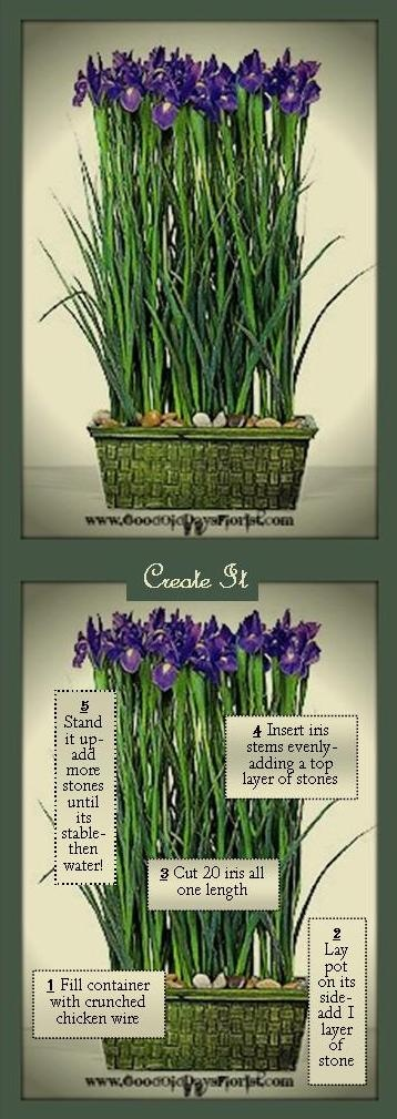 How to arrange flowers in a parallel design.  A wall of iris; one of the easiest designs to create with the greatest impact. www.GoodOldDaysFlorist.com