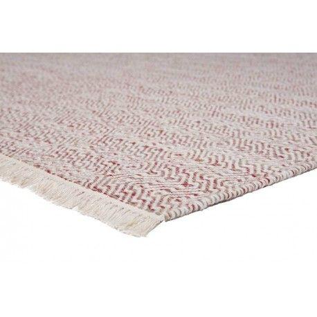 Zacht rood/wit vloerkleed met ruitdesign gemaakt van 100% hoogwaardige wol. #vloerkledenloods #ballista #modern #carpet #wol #rug #wool #interiordesign #tassels