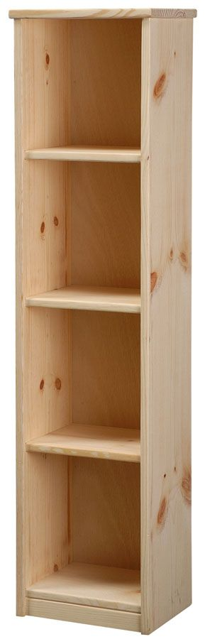 "Solid Pine 9"" Deep Bookcase with Fixed Shelves Unfinished 12w x 48h"