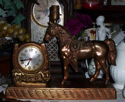 Vtg Copper Metal Carnival Prize Horse Electric Clock Cowboy Western TV lamp