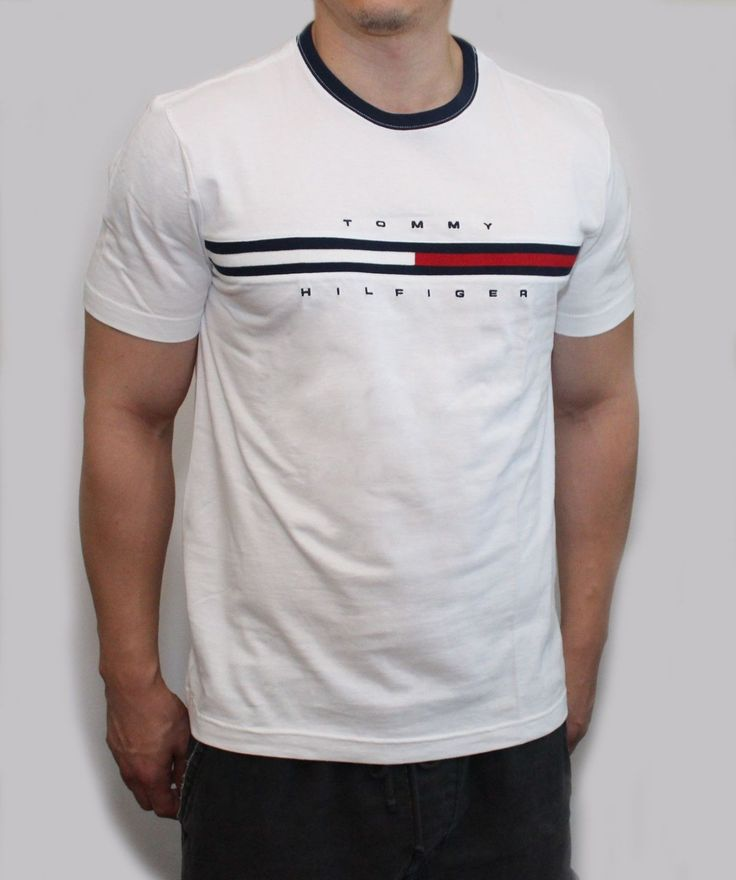 New Tommy Hilfiger Men Classic Fit Crew Neck Logo Tee Shirt T Shirt | eBay