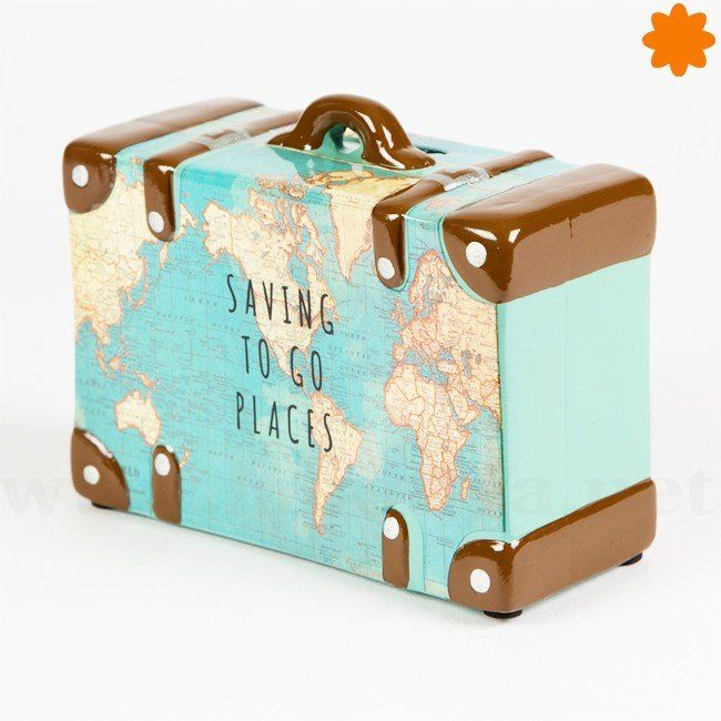 Hucha maleta con mapa mundial - Ahorrar para viajar