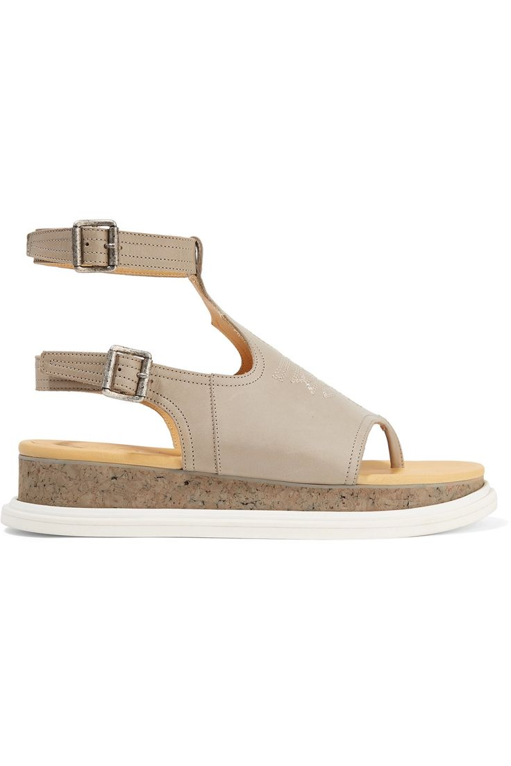 Shop on-sale MM6 Maison Margiela Embroidered leather sandals. Browse other discount designer Sandals & more on The Most Fashionable Fashion Outlet, THE OUTNET.COM