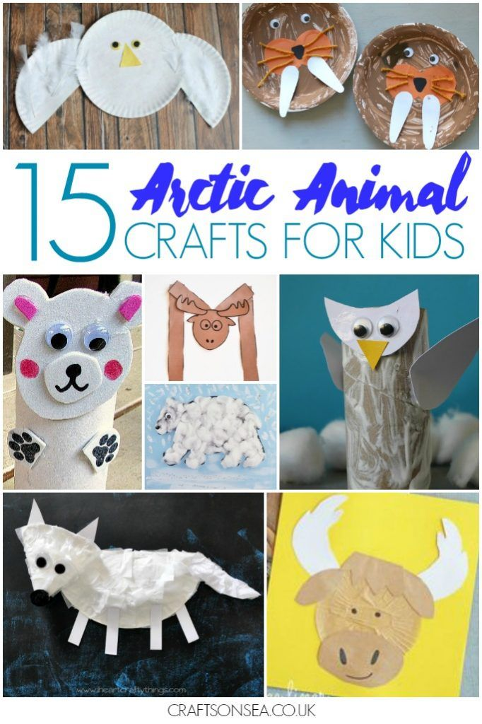 Easy and cute arctic animal crafts for kids including orcas, reindeers, snowy owls, moose crafts walruses and polar bears.