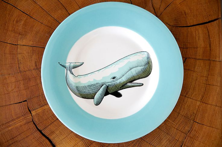 Jersey Pottery Neptune Whale Side Plate #JerseyPottery #ceramics #pottery #marine #whale