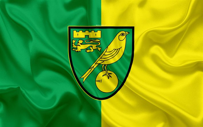 Download wallpapers Norwich City FC, silk flag, emblem, logo, 4k, Norwich, UK, English football club, Football League Championship, Second League, football