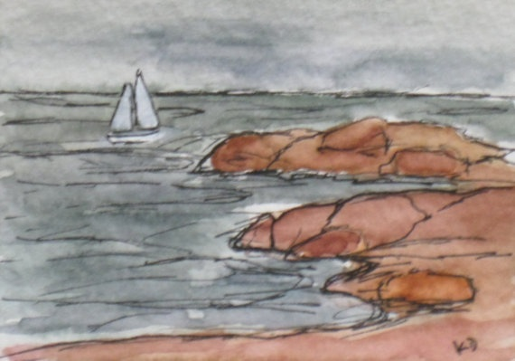 Original Maine Coast Watercolor Painting ACEO by kathleendaughan, $12.00Watercolor Painting, Painting Aceo, Art Shops, Coast Watercolors, Originals Maine, Maine Coast, Etsy Art, Watercolors Painting