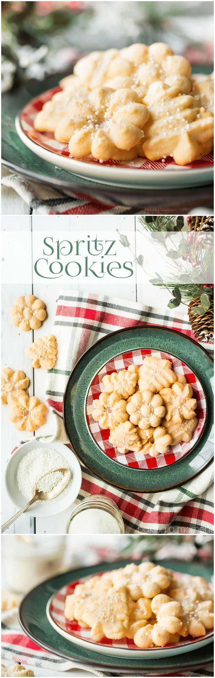 An assortment of buttery spritz cookies, on a red and green plate with holiday greenery in the background.