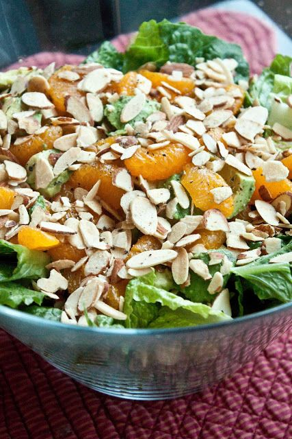 Mandarin Almond Salad.  I prefer Fresh Spinach and Arugala instead of the Romaine lettuce.  More flavor, better nutrition. The sauce is amazing.  I candy my own almonds with a simple syrup with just a faint hint of vanilla and cinnamon. :) you'll love it if you try it!!