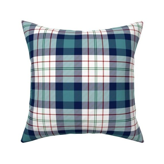 Classic Plaid Throw Pillow Ferguson Tartan In Teal By Etsy In 2020 Plaid Throw Pillows Throw Pillows Square Throw Pillow
