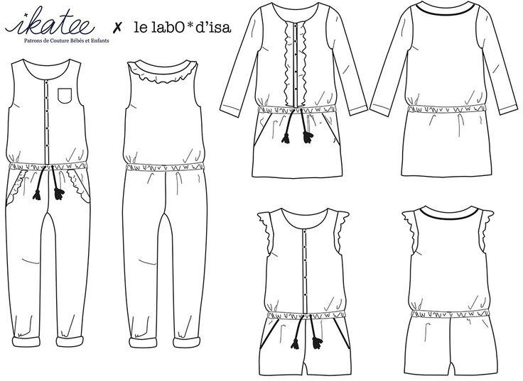 Patrons de Couture PDF à télécharger. EnfantFille 3-12 ans Un patron polyvalentCombinaison ou robe élastiquées à la tailleManches longues ou sans manchesCo
