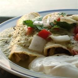 These enchiladas are made with a fresh green salsa, just like you would find in a Mexican restaurant or better yet, in a Mexican home.