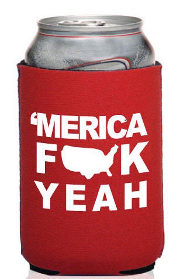 Amazon.com : Funny Guy Mugs 'Merica F*ck Yeah Neoprene Can Koozie, Red : Funny Koozie : Kitchen & Dining