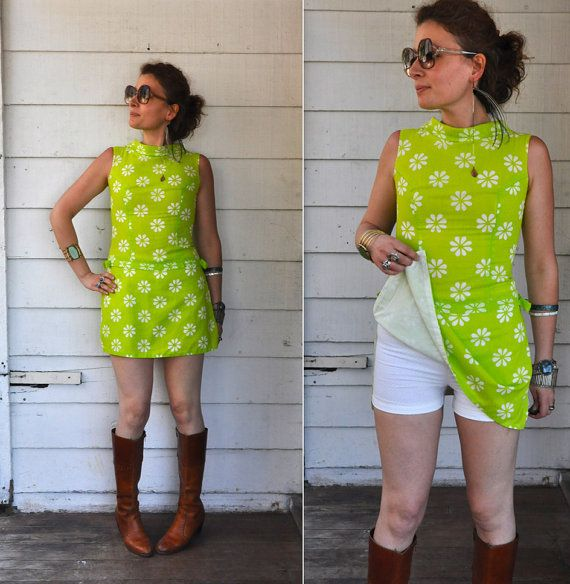 60s Lime Green Romper Mini Dress with white by LaDeaDeiSogni, $148.00