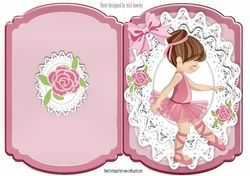 Sweet little ballet dancer with roses and bow bracket card on Craftsuprint - View Now!
