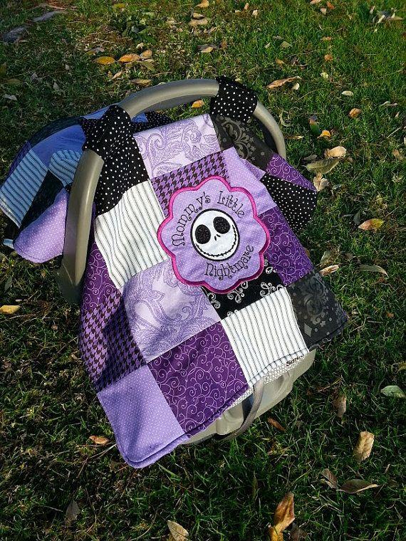Disney Nightmare Before Christmas - Jack Skellington Baby Infant Car Seat Cover / Nursing Cape / Blanket w/ pocket!