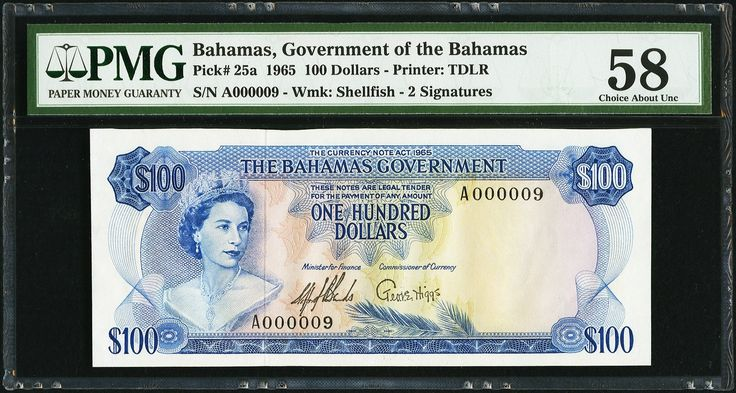 Bahamas Government $100 1965 - 1