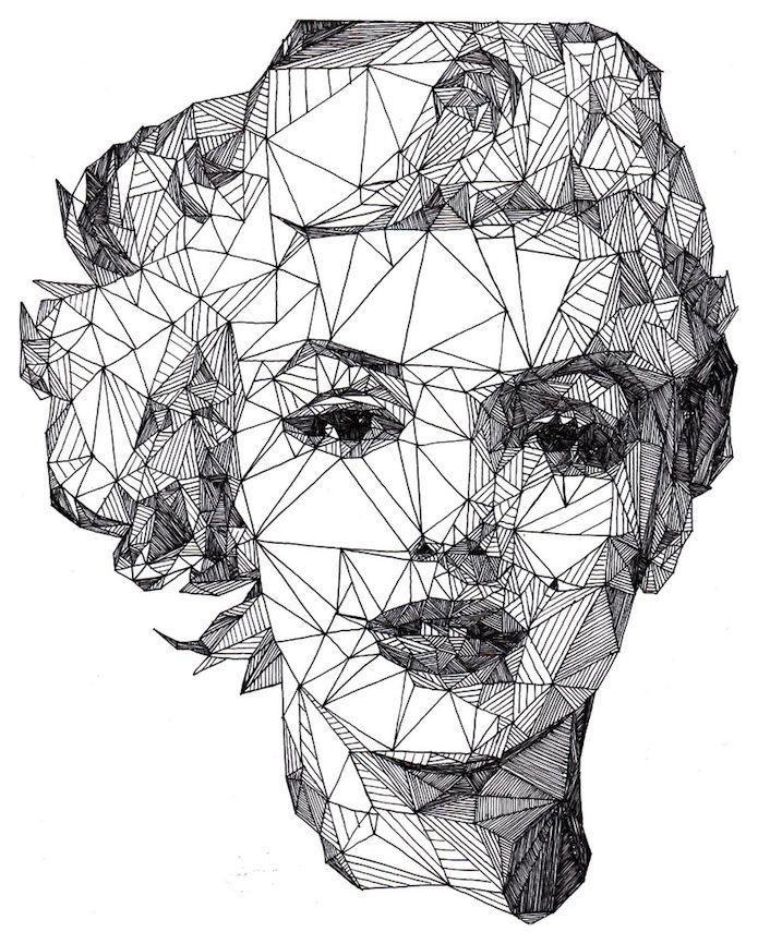 Triangulation: Angular Celebrities Drawn with a Pen: Josh Bryans, Marilyn Monroe, Triangle, Illustrations, Art, Graphics Design, Portraits, Radios Telescope, Drawing