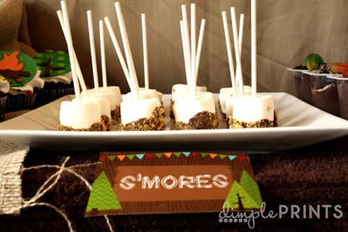 woodland creature camping great outdoors themed first birthday party by dimple prints marshmallow pop smores