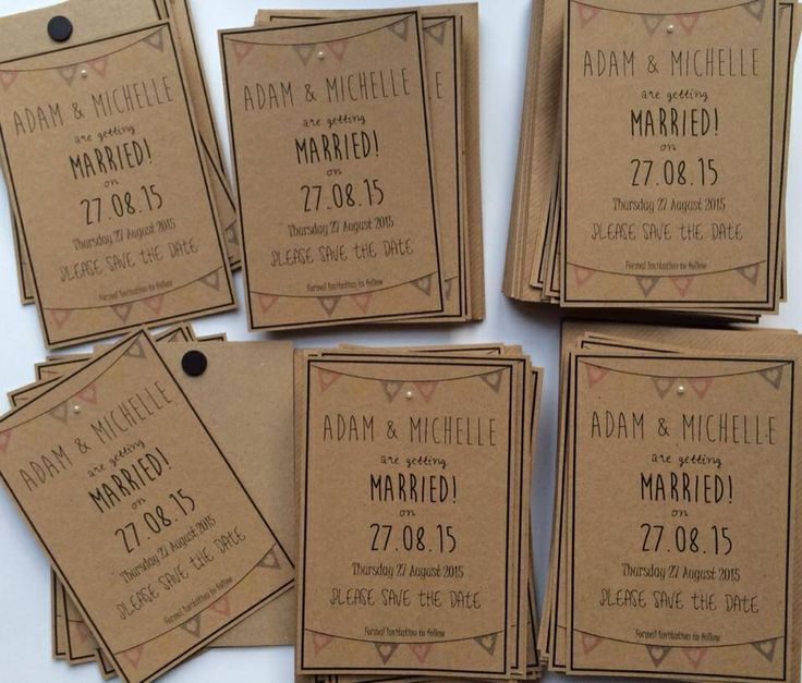 Vintage inspired bunting save the dates with fridge magnet attached. Printed on 280gsm brown kraft paper with 100gsm envelope. 60p with magnet or 50p without magnet.