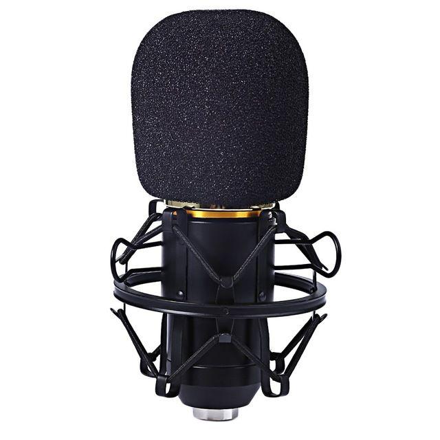 Zeepin Micrófono Profesional de Condensador para Estudio de Grabación de Sonido con Choque de Metal de Montaje Kit de Micrófono para la Grabación