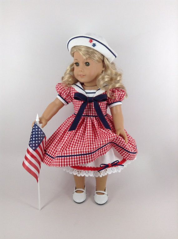 Handmade dress, hat, and petticoat for American Girl and other similar 18-inch dolls. Sailor style clothing, dating back to the mid 1800s, is