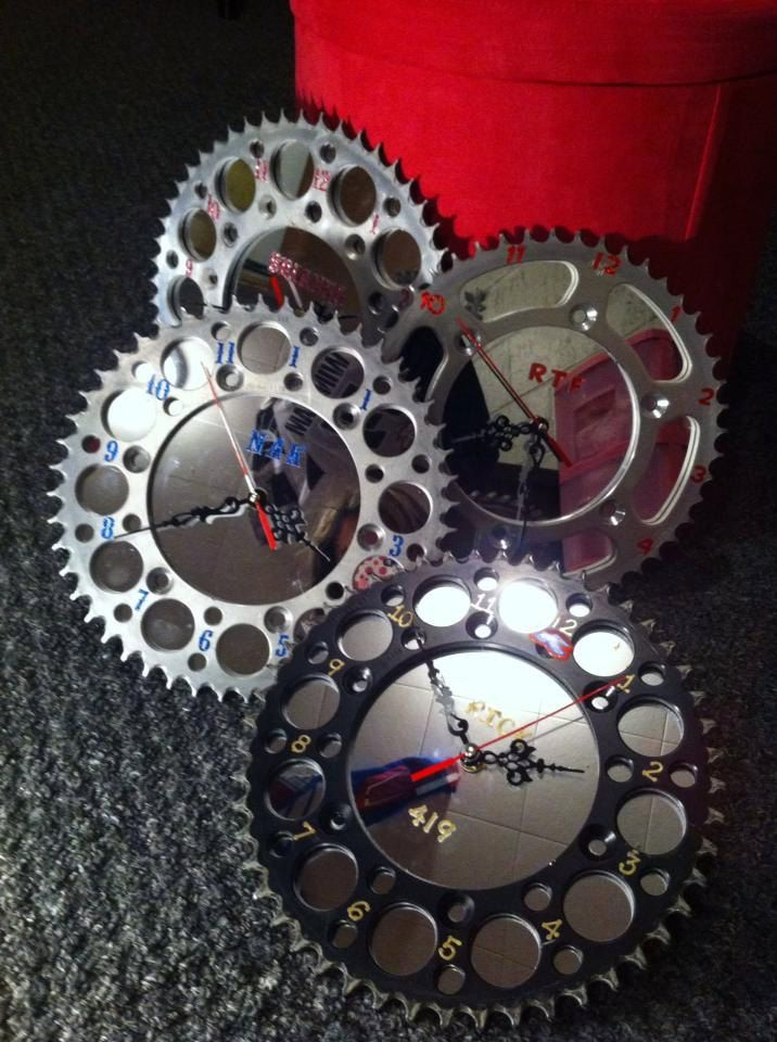 Dirt bike sprocket clocks. $25.99, via Etsy.