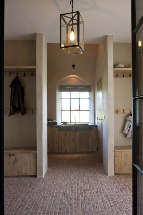 I like the brick floor and light wood at a side entry