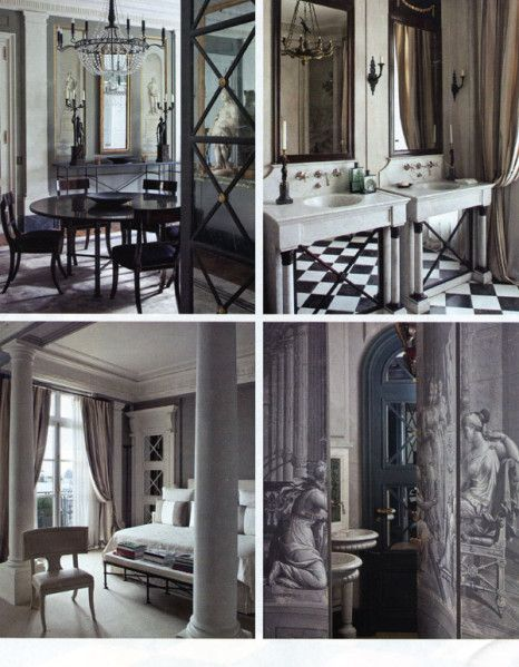 Visite d'un superbe appartement parisien décoré dans un style néo-classique revisité : Du mobilier Empire, des papiers peints en grisaille à motifs mythologiques, des sols de marbre, des objets d'art néo-classiques et quelques touches modernes... pour...
