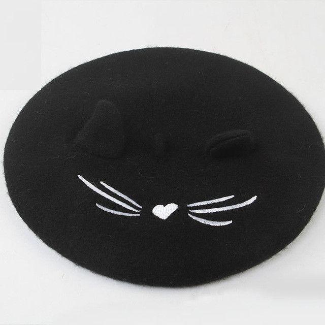 Wool Berets Winter Flat Caps Cute Cat Ears Embroidery Pattern Hat Black Warm Soft Felt Beanie Hats For Women Gorras Planas S6