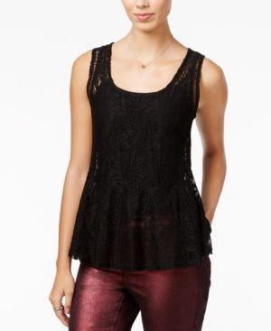 Jessica Simpson Regine Lace Peplum Top - Black L