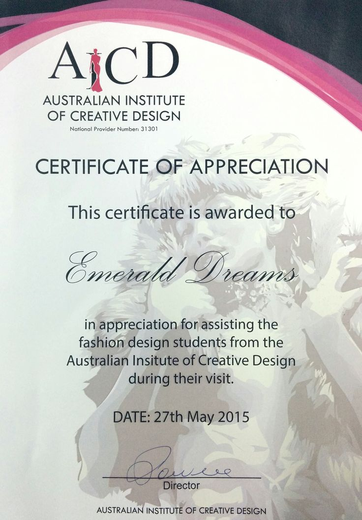 Certificate of Appreciation Awarded to Emerald Dreams from the Australian Institute of Creative Design.
