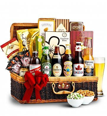Beer Lovers Gift basket - Choose international or American beers.  Very elegant beer gift basket!