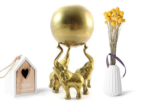 Vintage Elephants with Globe   Solid Brass Circus Elephants